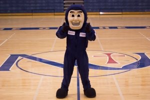 NEWMAN'S MASCOT JOHNNY JET poses for a photo. Kati Bush, Managing Editor